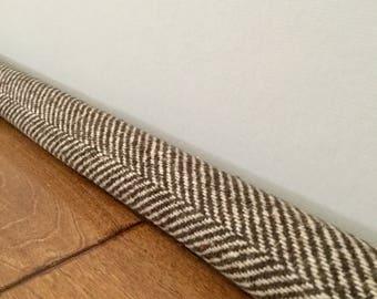 Rich brown wide herringbone door draft stopper / wool draft guard snake