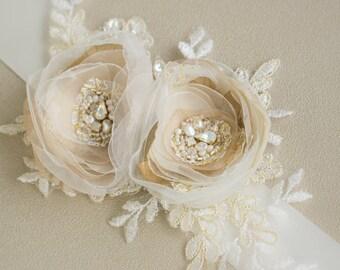 Wedding belt gold, Bridal sash floral, Gold weddings, Bridal belt gold, Flower Wedding belt, floral sashes belts, lace wedding belt