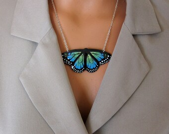 Large blue enamel butterfly necklace Handpainted bib necklace Wearable art statement jewelry gift for her