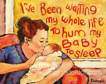 mother and baby kiss Sweet Dreams CANVAS OR PAPER giclee print nursery art  Peggy Johnson