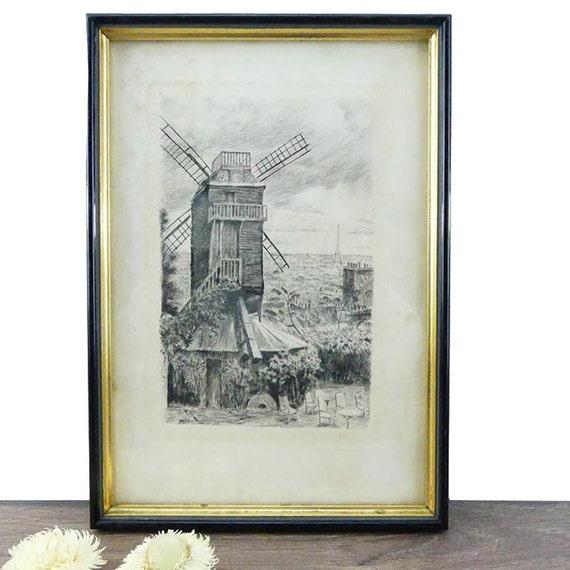 Antique Wood Frame Paris drawing - Vintage frame - French Frame ...