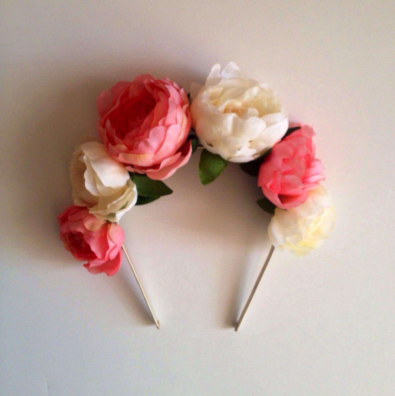Coral and cream ranunculus flower crown headband floral zoom izmirmasajfo Gallery