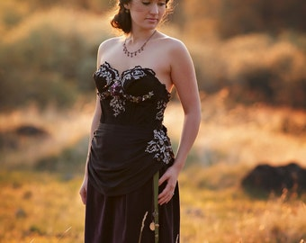 Ready to Ship~Black Lace Wedding Gown, Black Lace and Purple Velveteen Gown, Gothic Wedding Gown, Romantic Reception Gown