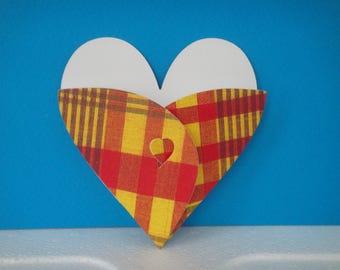 Pocket red madras heart cutout