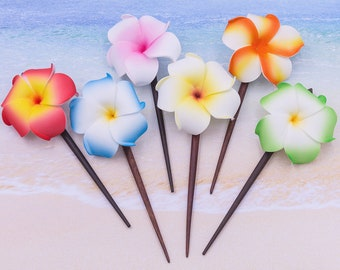 12 Flower Hair Sticks,   Plumeria  Hair Stick, Wood Stick, Mixed Colors, Made To Order