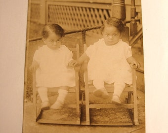 Antique Rppc Real Photo TWINS ethnic postcard Little Girl twins in twin rocking chair unused postcard