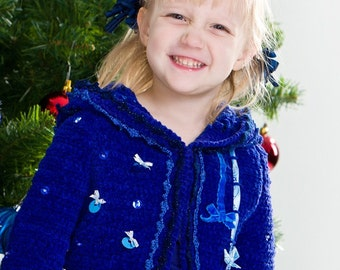 CROCHET PATTERN Holidays Royal Blue Sonia Crochet Jacket Easter Pattern for Sizes 2T-12 Years in PDF