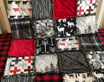 Rustic Lodge Woodland Buffalo Plaid Deer Red Amp Black Baby