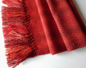 Handwoven wool scarf, womans woven scarf, handwoven wrap, red scarf, womens wrap, winter scarf