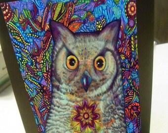 greeting card zentangle owl surprise blank card