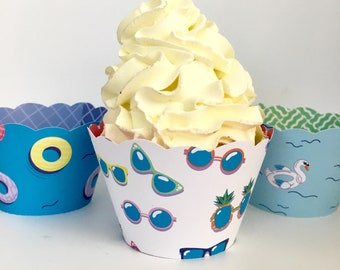 Summer Cupcake Wrappers, Pool Party, Beach Party - Sale