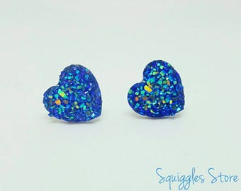 Blue Heart Sparkling Faux Druzy Hypoallergenic Titanium Stud Earrings Sensitive Ears