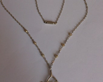 vintage sterling silver lucky heather and wishbone pendant and chain