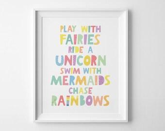 Whimsical art, nurser wall art prints, Play with fairies print, Scandinavian decor, nursery print, wall decor, kids wall art whimsical print