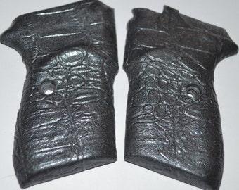 Bersa Thunder pistol grips gator skin silver plastic