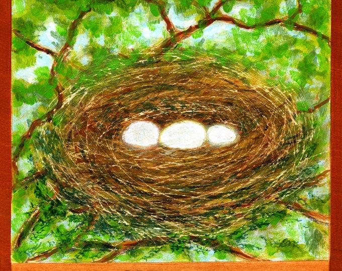 N  is for Nest.  Hand-signed print of original artwork