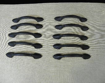 10 Scallop Cabinet Hardware or Drawer Pulls Painted Black
