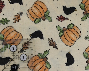 "Vintage Fall print Pumpkins Crows Leaves Dots on cream  by Linda Stubbs 44-45"" wide 100% cotton"