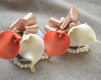 Coral Ivory Calla Lily Corsages Wrist Corsage Wedding Corsage Real Touch Flowers Beige/Tan Ribbons--Choose ribbons colors