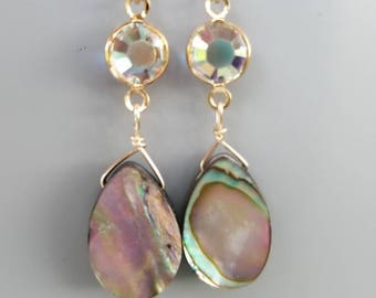 Sunrise abalone shell earrings