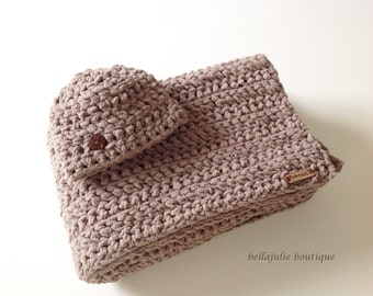 Chunky Crochet Baby Blanket and Hat Set, Chunky Crochet Throw, Super Soft Baby Blanket, Chunky Crochet Hat, Taupe Color, Ready To Ship!!!