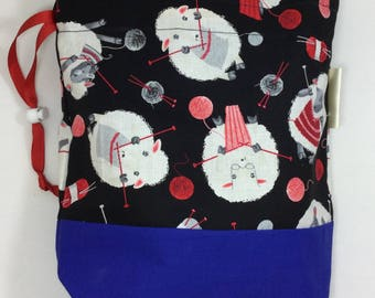 two at a time bag, knitting bag, sheep sock sack, drawstring bag, divided bag, shoe bag, toiletries bag, work in progress bag , WIP bag
