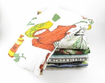 Linen Dish Tea Towels Calendar Vintage Set of Six 1974-79 Kitchen