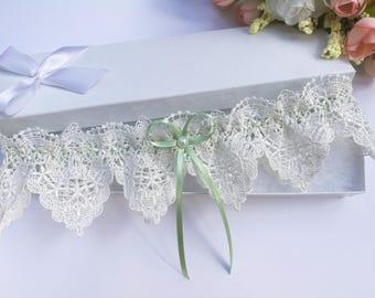 Sage green wedding garter, sage green garter, ivory lace garter, venise lace garter, sage green bridal garter, pearl garter