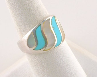 Size 8 Sterling Silver Mother Of Pearl And Turquoise Tapered Band Ring