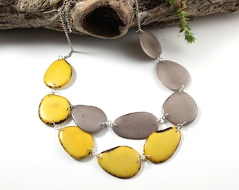 Yellow statement necklace, Tagua necklace, Gift ideas, Boho necklace, Vegan jewelry, Vegetable ivory, Beaded jewelry, Fair trade jewelry