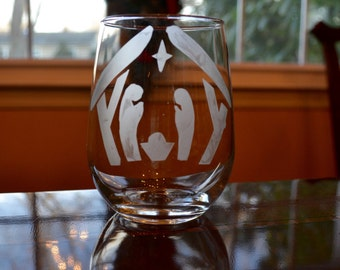 Etched Nativity Scene Stemless Wine Glasses- Set of 2