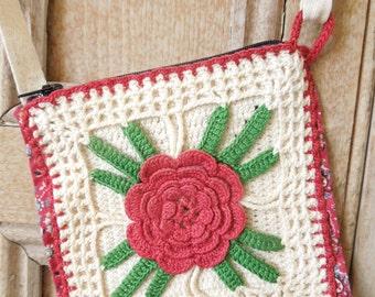 Vintage Red Rose Purse - Mid Century Kitsch Crocheted Potholder