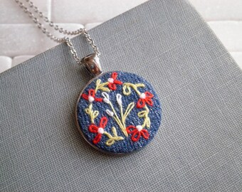 Petite Floral Embroidery Necklace Embroidered Flower Necklace Mini Red & White Garden Necklace  Wildflowers Textile Fabric Art Jewelry Gift