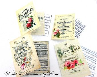 "PDF Dollhouse Music, 1:12 Music Digital Download, Dollhouse Music, Dollhouse Victorian, Scale 1"" Miniatures"