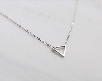 Silver Triangle Necklace / Dainty Geometric Necklace / Silver Layering Necklace / Birthday, Bridesmaid Gift Idea / Gift For her