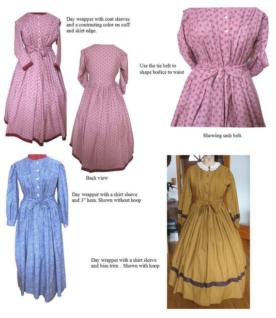 Victorian Sewing Patterns- Dress, Blouse, Hat, Coat, Mens Day Wrapper Dress /Mid- 19th Century 1840- early 1870/ Civil War Era Dress Pattern/ Timeless Stitches Sewing Pattern TSD-303 $20.00 AT vintagedancer.com
