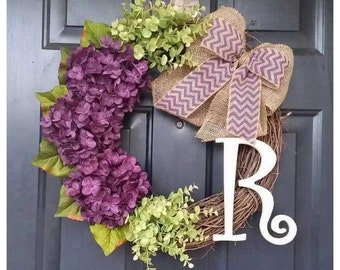 DOOR wreath, Door Wreath with Hydrangeas, Wreaths, Purple Hydrangea Wreath, Wreath for Door