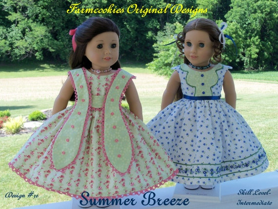 """PDF SEWING PATTERN / Summer Breeze / 2 Summer Gowns Fit American Girl® Marie Grace, Cecile  or other 18"""" Dolls"""