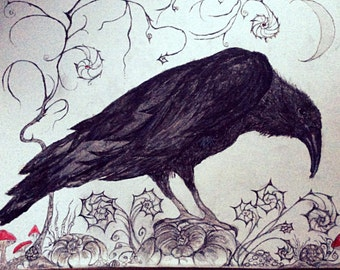 """Raven Greeting Card 8""""x6"""" From an Original Painting. Blank inside for your own message."""