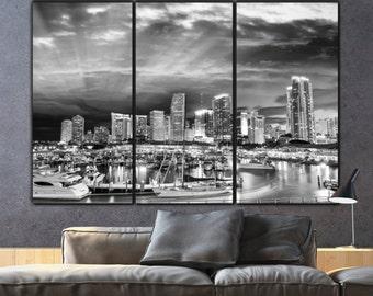 Miami Skyline Canvas Set, B&W Large Wall art of Miami Print, Miami Canvas, Miami Art, Miami Photo, Large Wall Art, Miami Poster