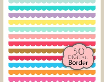 ON SALE Digital border, border frames clipart, digital scrapbooking Scalloped Borders. B-16, Instant Download