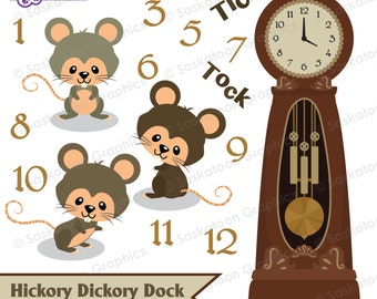 Hickory Dickory Dock Clipart - Instant Download File - Digital Graphics - Cute - Crafts - Commercial & Personal Use - #S007