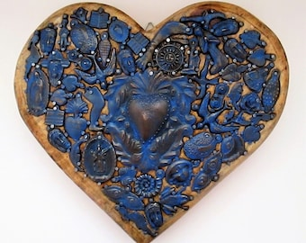 Milagros Heart, Mexican Milagro Charms, Ex Voto, Sacred Heart, 5th Anniversary Gift, Wood Anniversary
