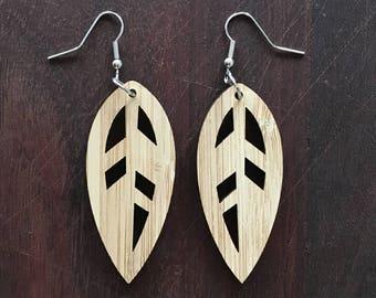 LEAF FEATHER - leaf shaped earrings