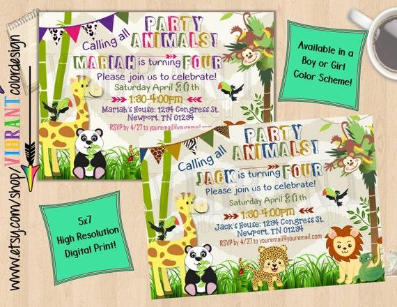 Zoo Birthday Invitation Party Animal Birthday Jungle Theme