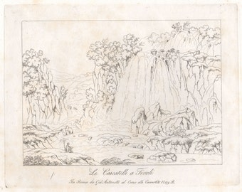 The Waterfall at Tivoli, Rome. Original early 19th century Italian engraving
