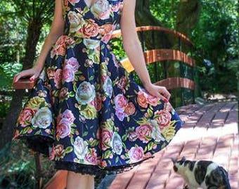 Navy Rose Nancy Dress