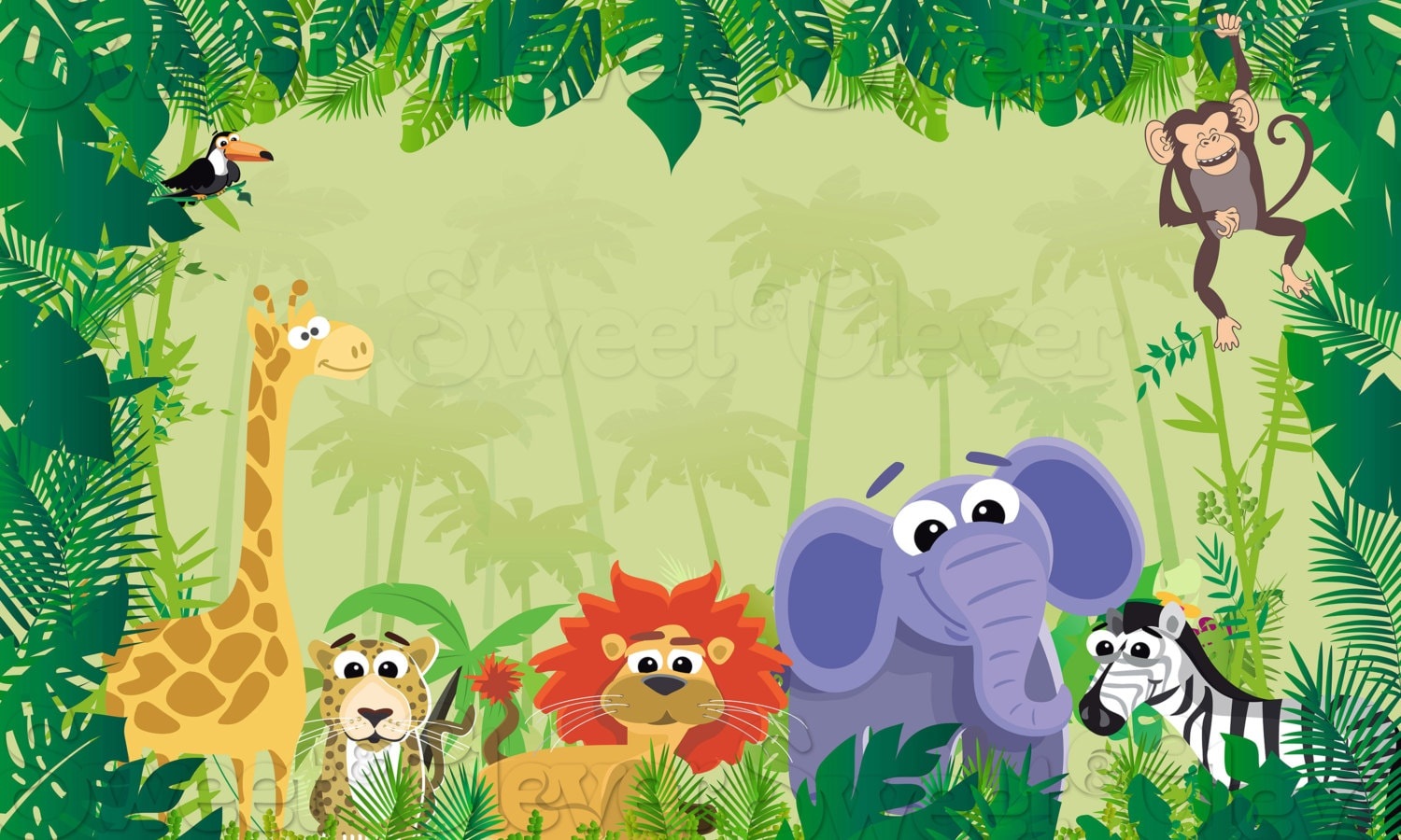 Jungle Safari Themed Party Backdrop 3ft X 5ft Instant