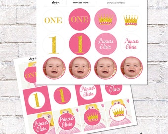 Personalized Princess Birthday Cupcake Toppers and Cake Bunting. Princess First Birthday Party. Printable / DIY.  *DIGITAL DOWNLOAD*