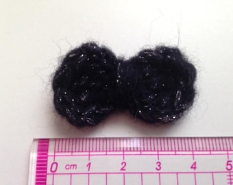 4 bow ties black and silver wool and crochet
